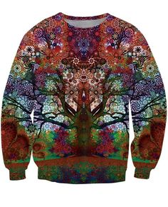 Reflection Illusion Art Magic Color Vibrant Blooming Tree Vintage Theme Sweatshirt  #Reflection #Illusion #Art #Magic #Color #Vibrant #Blooming #Tree #Vintage #Theme #Sweatshirt