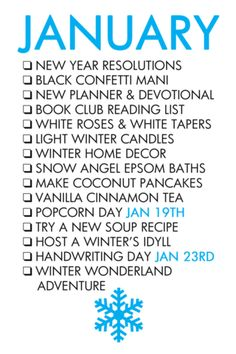 Paper & Glam - January Life List