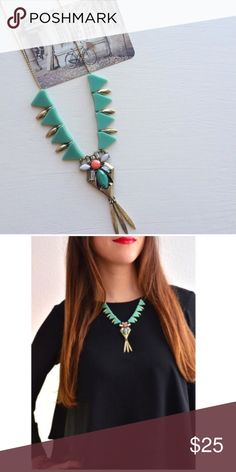J.Crew turquoise necklace Lovely necklace with cute design! J. Crew Jewelry Necklaces