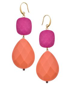 David Aubrey Raspberry Peach Pear Drop Earrings #maxandchloe
