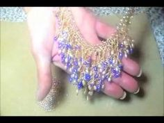 Video: Waterfall Bib Style Necklace - More chevron stitch netting with fringe. #Seed #Bead #Tutorials