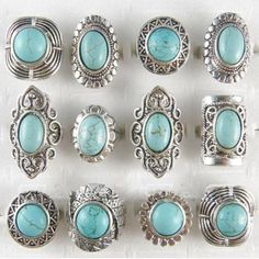 New Arrival Wholesale Vintage Jewelry Lots Turquoise Stones Antique Silver Plated Women Mens Rings Buy Now Discount: Price: USD USD New Arrival Wholesale Vintage Jewelry Lots Turquoise Stones Antique Silver Plated Women Mens Rings Turquoise Rings, Turquoise Stone, Turquoise Color, Silver Jewelry, Vintage Jewelry, Silver Rings, Jewlery, Resin Jewelry, Earrings