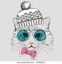 Image cat portrait with glasses in a tie and hat. Vector illustration.