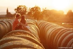 A special kind of love love cute photography summer couples outdoors sun country #countrythang #countrycouple #engagementphoto #country #haybales