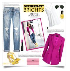 """Summer Brights"" by southindianmakeup1990 ❤ liked on Polyvore featuring Christian V Siriano, Dondup, rag & bone, Pantone, Ray-Ban, Hermès, NARS Cosmetics and Deborah Lippmann"