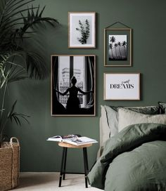 botanical interior design ideas dark green bedroom with white art. The Best in Botanical Interior Design Ideas for your Home. Botanical interior design ideas from oversees - TLC INTERIORS Interior Design Minimalist, Vintage Interior Design, Interior Design Inspiration, Home Decor Inspiration, Decor Ideas, Decorating Ideas, Decorating Websites, Green Interior Design, Design Websites