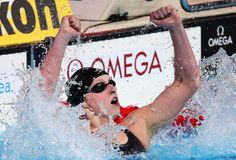 Katie Ledecky of the USA celebrates after winning the Swimming Women's400mFreestyle Final on day nine of the 15th FINA World Championships at Palau Sant Jordi on July 28, 2013 in Barcelona, Spain.