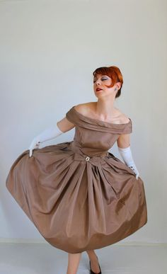 New! 50s Fantasy Party Dress  Sale 1950s Dress Brown Taupe Party Dress Cocktail by gogovintage, $185.00