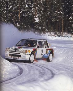 Ari Vatanen, the 1981 World Champion, negotiates his Peugeot 205 around an icy bend at the International Swedish Rally, the second round of the 1985 World Rally Championship. The Finn would win the event by less than two minutes from Swede Stig Blomqvist. Psa Peugeot Citroen, Peugeot 205, Sport Cars, Race Cars, F1 Posters, 205 Turbo 16, Rallye Wrc, Course Automobile, Monte Carlo Rally