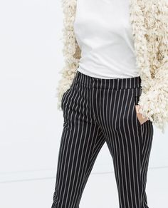 ZARA - WOMAN - STRIPED NARROW TROUSERS