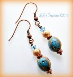 Teal Blue Porcelain Bead & Copper Earrings by KyKysTreasures, $11.00