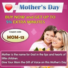 """BUY NOW and GET UP TO 5% EXTRA MINUTES.  Use coupon code """"MOM-13"""" & Get 5% extra minutes on one purchase of $10 or above. Go and get it now - http://www.amantel.com"""
