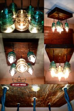 repurposed glass insulator lights .... really cool and easy to find insulators at antique markets.