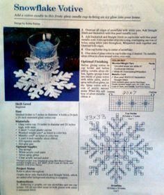Snow flake votive pattern plastic canvas