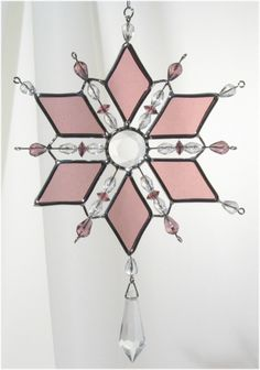 Stained Glass Diamond Snowflake Suncatcher  colors in Mauve, Blue, Green, Red & Clear