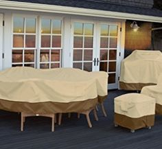Classic Accessories Veranda Cover For Hampton Bay Fall River Patio Dining Tables Durable and Water Resistant Patio Set Cover *** Click image for more details. (This is an affiliate link) Outdoor Furniture Covers, Patio Furniture Sets, Garden Furniture, Garden Sofa, Furniture Ideas, Patio Dining, Patio Table, Patio Chairs, Dining Tables