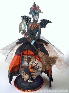 Wire Cloche Halloween Art Doll