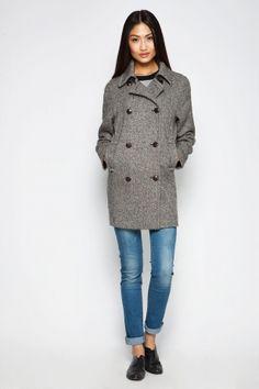 Фото пальто женское серое (1530084) размеры XS, S, M, L.