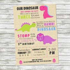 Girls Dinosaur Birthday Invitation - Pink Dinosaur Invitation - Dinosaur Printable Invitation - T Rex Dinosaur Party Supplies - PERSONALIZED by PicklesAndPosies on Etsy