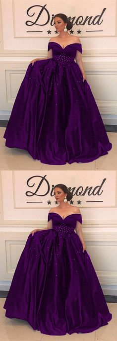 Grape Satin A-line Off Shoulder Prom Dresses Plus Size Evening Gowns With Beaded Waistline