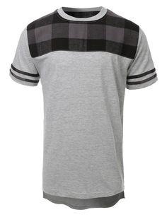 LE3NO Mens Hipster Hip Hop Front Plaid Crewneck T Shirt