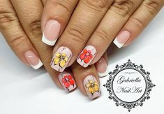 French Nails, Neon Nails, Nailart, Nail Designs, Floral, Flowers, Instagram, French Tips, Nail Desings