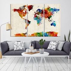 24458 - Large Wall Art World Map Canvas Print- Navy Blue Watercolor World Map Travel Canvas Print- Modern XXL Large Wall Art World Map Canvas Print