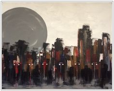 """""""Desolate City"""", acrylic on stretched canvas, 36"""" x 48"""" x 3"""", ©Mac Worthington, artist, 2015 For further information on this piece or to discuss a custom design please call 614 
