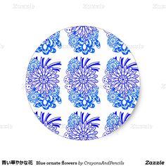 青い華やかな花 Blue ornate flowers Classic Round Sticker
