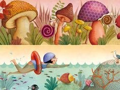 (Just the mushrooms part) marie desbons Art And Illustration, Snail Art, Mushroom Art, Art Corner, Magic Art, Whimsical Art, Summer Art, Art Images, Cute Art