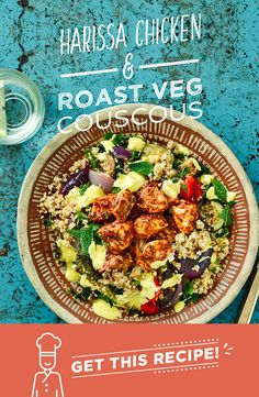 Moroccan inspired, this Harissa Chicken and Roast Veg Couscous is flavoured with sumac and saffron for added indulgence. You'll roast red pepper, onion and courgette before stirring them through sun-dried tomato couscous. Fresh mint brightens up this dish, as does the vibrant yellow saffron yoghurt. Sunny stuff!