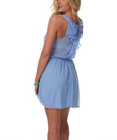 Light Blue Bow Sleeveless Dress