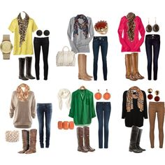 fall outfits. Looks like I need some boots!