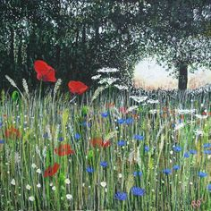 Buy Wildflower Meadow Acrylic painting by Roz Edwards on Artfinder. Happy Paintings, Colorful Paintings, Paintings For Sale, Original Paintings, Love Painting, Acrylic Painting Canvas, Painting On Wood, Painting Tips, Wild Flower Meadow