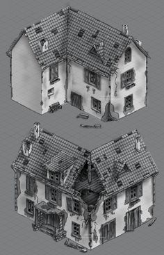 Sketch of building for 3d artist by Larisa Kalinovskaya, via Behance