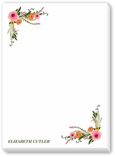 Custom Notepad with Image: Floral Feeling 5x7, White