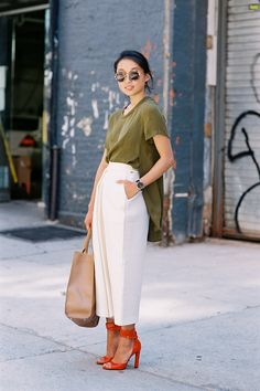 We're obsessed with everything about this outfit worn by style blogger Margaret Zhang; especially the mix of ivory, olive, red and nude hues!