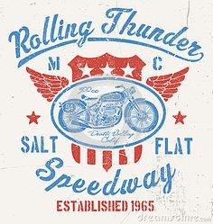 Rolling Thunder Vintage Motorcycle Graphic by Krookedeye, via Dreamstime