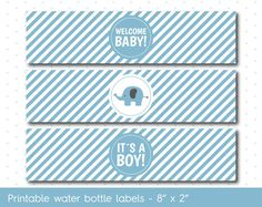 Blue elephant baby shower water bottle labels with stripes, WA-32