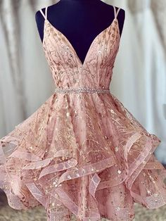 Cute Sequins Pink Homecoming Dress V-neck Beaded Short Prom Dress for your inspiration. You can wear this short prom dress to your party, which do make you the most stunning girl. Fit comfortably and looked so gorgeous. Elegant Dresses, Pretty Dresses, Sexy Dresses, Evening Dresses, Dresses For Work, Formal Dresses, Summer Dresses, Wedding Dresses, Corset Dresses