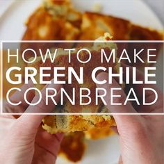 Flavorful and tender Green Chile Cornbread! Packed with corn, cheese, and Anaheim or Hatch green chiles. Green Chile Cornbread Recipe, Hatch Green Chili Recipe, Green Chili Recipes, Hatch Chili, Mexican Cornbread, Chili And Cornbread, Mexican Food Recipes, Cornbread Recipe With Cheese, Mexican Corn Bread Recipe