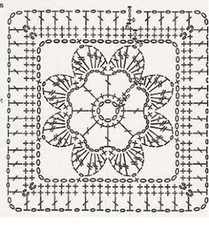free crochet patterns: free crochet granny square charts and projects Crochet Motif Patterns, Granny Square Crochet Pattern, Crochet Blocks, Crochet Diagram, Crochet Chart, Crochet Squares, Crochet Granny, Diy Crochet, Vintage Crochet