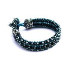 Teal bead crochet rope bracelet  beaded seed bead by Naryajewelry, zł100.00
