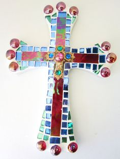 Mosaic Cross red wall hanging by ginalimosaics on Etsy, $32.00