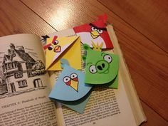 Angry Bird bookmarks that fit on the corner of your page.