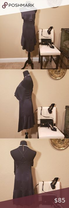 """NWT BEBE LITTLE BLACK DRESS SIZE 2 This darling flouncy black satiny crepe dress by bebe is new with tags!! It features an asymmetrical flouncy tiered top and skirt, criss cross straps in back, rear hook & eye and zip closure. Fully lined. Size 2 (See measurements for sizing also). In excellent condition!  Measurements:  Bust 34"""" Waist 32"""" Length 41"""" bebe Dresses Midi Plus Fashion, Womens Fashion, Fashion Tips, Fashion Trends, Tiered Tops, Crepe Dress, Criss Cross, Size 2, Closure"""