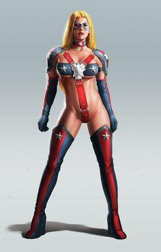 Lady Liberty Evil Girl, Superhero Cosplay, Mundo Comic, Comics Girls, Mystique, Fantasy Girl, 3d Girl, Cool Costumes, Pin Up Art
