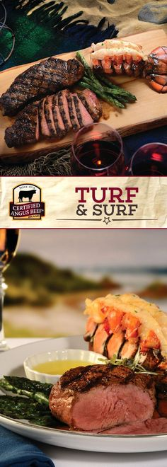 Certified Angus Beef®️️️️️️️️️️ brand Turf & Surf uses the best lean and tender strip steak and cold water lobster tails. Paprika, thyme, chives and parsley bring out the deep flavors of both the steak and the lobster! Served with asparagus spears, butter and herbs. The perfect dinner for two! #bestangusbeef #certifiedangusbeef #beefrecipe #dinnerrecipes #steakrecipes #surfnturf