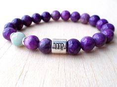 Virgo Bracelet, bijoux de la Vierge, Vierge du zodiaque signe bijoux, cadeaux de l'astrologie, Bracelet en pierres naturelles, Amazonite, Sugilite