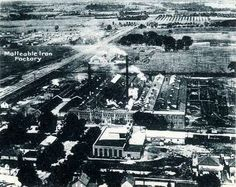 Black and white photo from an aerial view of Malleable Iron Factory, Oshawa. Durham Region, Local History, Aerial View, Ontario, Over The Years, Paris Skyline, Pride, Industrial, Plant